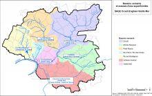 Carte des bassins versants et masses d'eau superficielles