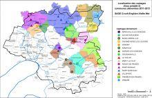 Carte de la localisation des captages d'eau potable et communes alimentées