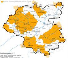 Carte des communes concernées par le risque de dissolution du gypse