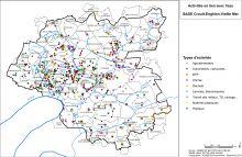 Carte du nombre d'activités industrielles et artisanales en lien avec l'eau par communes Type d'ICPE