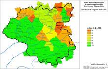 Carte des indices de connaissance et de gestion patrimoniale de réseaux d'eau potable
