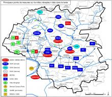 Carte des principaux point de mesures de la qualité de l'eau