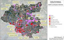 Carte des projets d'aménagement recensés sur le territoire