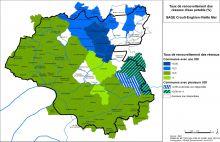 Carte des taux de renouvellement des réseaux d'eau potable