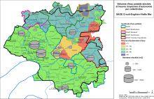 Carte des volumes d'eau potable stockés et heures moyennes d'autonomie des collectivités