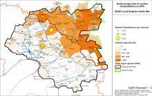 Carte des surfaces agricoles et du nombre d'exploitations en 2010