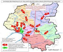 Carte de synthèse des principaux flux polluants rejetés aux milieux recepteurs par temps sec