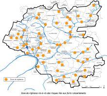 Carte des zones de vigilance liées au risque de ruissellement
